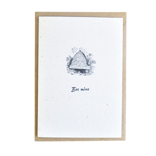 Bee Mine hand printed card. Created using a wonderful antique wood engraving, using the original 19th century block on beautiful paper.   The cards are all original works of art, designed to be treasured and framed after receipt. They make wonderful additions to gallery walls.