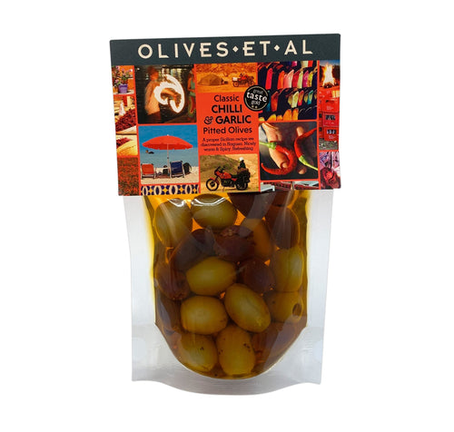 240g of pitted olives marinated in extra virgin olive oil, stored in a pouch. The chilli infused Extra Virgin Olive Oil makes an excellent spicy dressing or for cooking eggs for a weekend brunch.