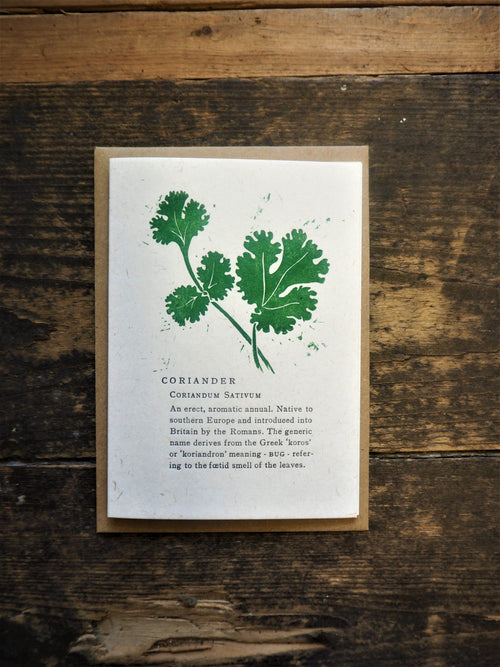This coriander card is a fun and original idea for a card, sold by Percy Langley