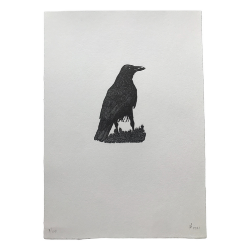 Chaucer's Crow is hand printed using a beautiful wood engraving by Rob Chapman.   Printed on paper: Somerset 220gs  Dimensions: 220mm x 185mm