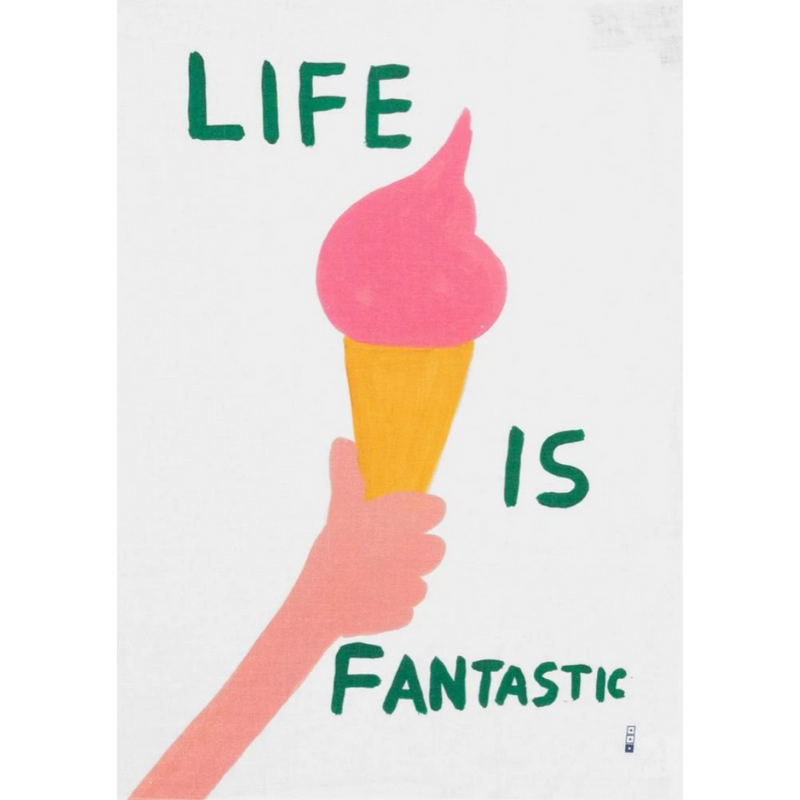 Own the iconic 'Life is Fantastic' print by British artist David Shrigley, beautifully printed onto this linen tea towel.   Appreciate modern art when wiping down the dishes or have it hanging as a piece of artwork when left to dry or even framed on the kitchen wall!