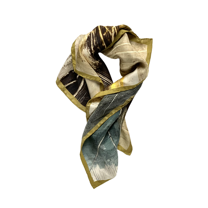 Moorland Abstract Art Print Square Silk Scarf