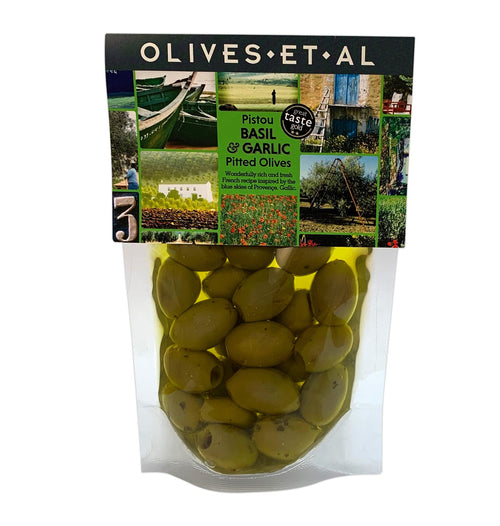 arlic olives, marinated in Extra Virgin Olive Oil. Delicious, fresh, French inspired recipe. 240g of pitted olives marinated in extra virgin olive oil, stored in a pouch.