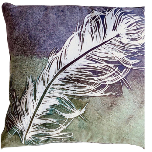 Feather Hand Printed Cushion, designed and made by Ruby Kite, sold by Percy Langley