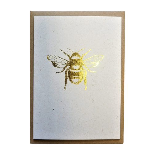 Golden Bee hand printed card. Printed using antique ornaments from the studio collection on beautiful paper.   The cards are all original works of art, designed to be treasured and framed upon and hung. They make wonderful additions to gallery walls.