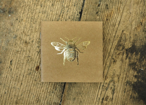 This beautiful gold printed bee notebook is handy to keep on you and will inspire some creativity in your notes, ideas and creations, sold by Percy Langley