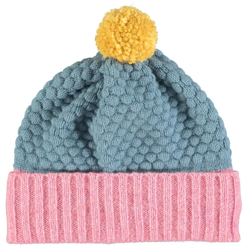 Children's PomPom Blue & Pink Beanie