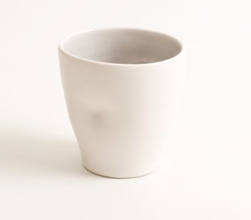 These are one fo a kind handmade cups with noticeable dimples that show the hand of the maker, by Percy Langley