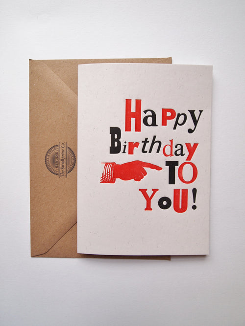 With a selection of metal type prints, this card is a wonderful option to wish someone a happy birthday, sold by Percy Langley
