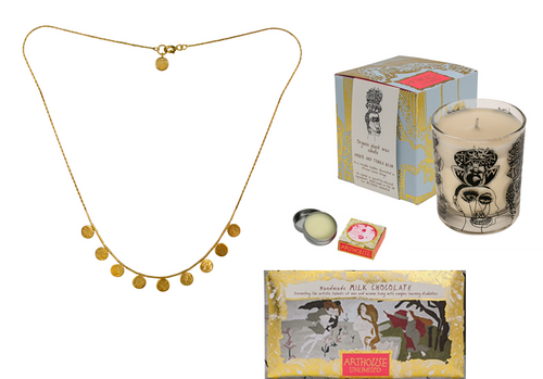 Gold Necklace Candle Chocolate and Lip Balm  Gift Set