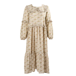 Minkie's 70s inspired dress is made from cotton Liberty London, Mulberry Tree fabric. With a beautiful frilled collar, balloon sleeves, and a tiered skirt, it's an easy-to-wear, statement piece. This unlined, long sleeved, dress pops over the head and is perfect for spring summer.