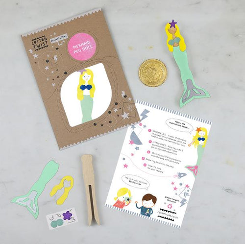 Mermaid peg doll and adventure mission kit by Cotton Twist. Instructions and pieces required to make the doll. Children will love treasure hunt mission of finding the tail, overlay and sea shell accessories in this mermaid adventure.