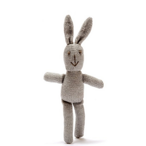 Lovely knitted grey cotton bunny baby rattle knitted from organic cotton yarn.  This gorgeous little neutral coloured rattle is a great new baby gift. Safety tested as suitable from birth and machine washable.  Dimensions: 24cm x 12cm please note that dimensions can vary for these handmade items and are given as a guide only.
