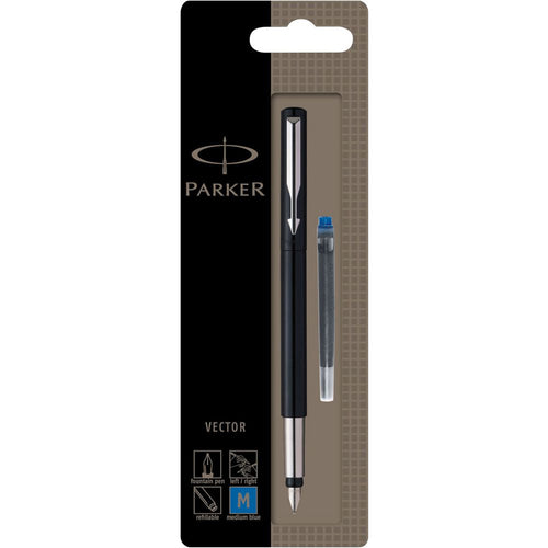 Iconic Parker fountain pen. High performance pens, great value for money. The Parker Vector fountain pen has a medium nib, with a consistent and fluid writing experience.