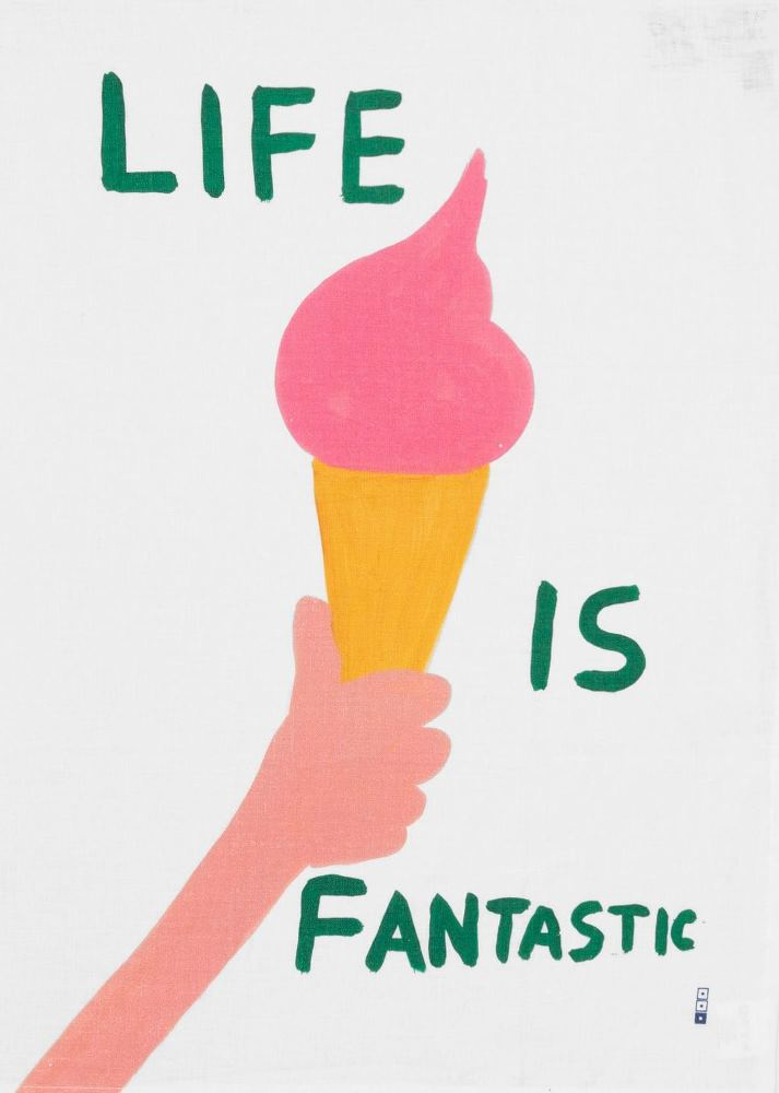 Own the iconic 'Life is Fantastic' print by British artist David Shrigley, beautifully printed onto this linen tea towel.