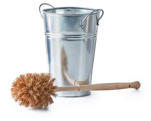 100% plastic-free toilet brush & holder set. This toilet brush has plant-based bristles so will not shed micro-plastics into the ocean. The metal holder is reusable and recyclable after use. The handle is made from locally grown beech wood.  100% vegan and sustainable materials.