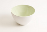 These elegant bowls have a subtle coloured glaze on the inside and a tactile satin matt glaze on the outside, making them a stylish and practical bowl for your cupboard, sold by Percy Langley
