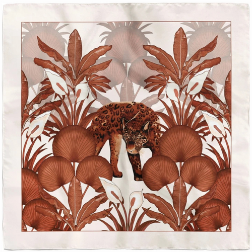 Beautiful 100% silk scarf by textile designer Liobhan Alanna. The Leopard Cream scarf is a vibrant design featuring a tranquil leopard relaxing in the tropical shade.  Pure Silk with hand-rolled edges, designed & made in the UK. Dry-clean recommended.  Dimensions: 90cm x 90cm