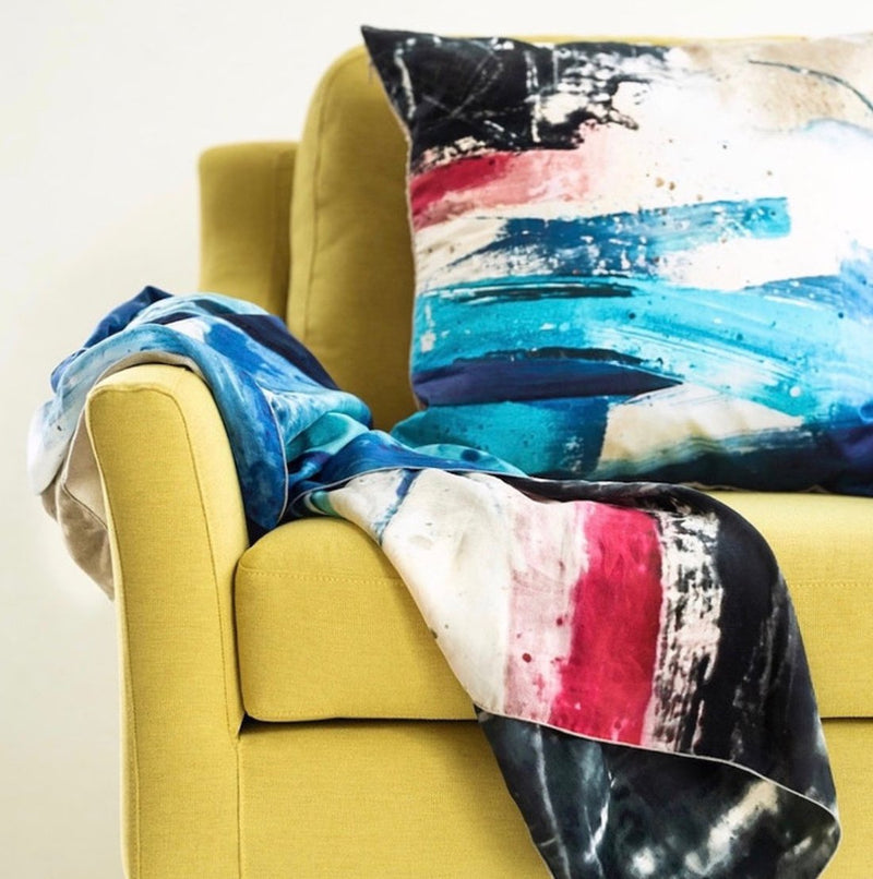 Seascape hand printed cushion, designed by Ruby Kite, sold by Percy Langley