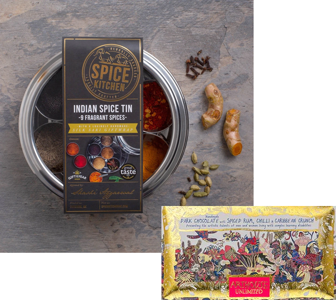 Curry kit with 9 spices & Chocolate. Upgrade with Art playing cards or a pestle and mortar!
