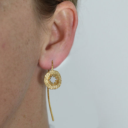 Star Amulet Earrings made out of fairmined gold vermeil by April March Jewellery, sold by Percy Langley