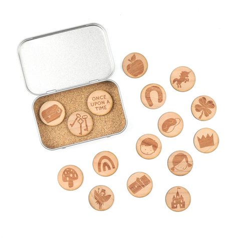 Wooden Story Tokens by Cotton twist.  Use the tokens to stem creativity and enable fluid and exciting story telling.