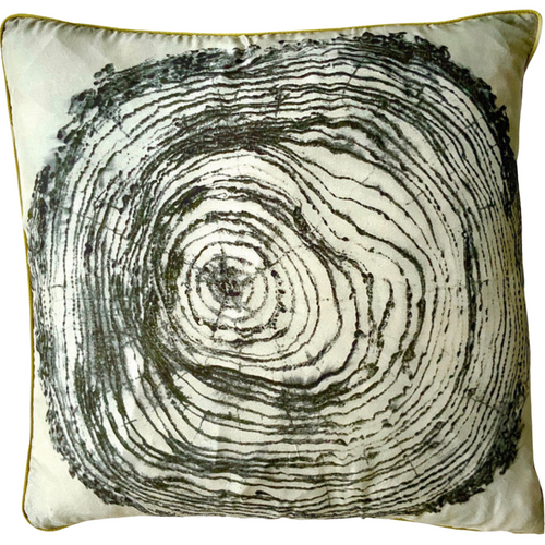Tree etching hand printed cushion, designed by Ruby Kite, sold by Percy Langley