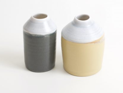 These original bottles are a fun two toned style and uniquely handmade with tactile satin matt glaze, sold by Percy Langley