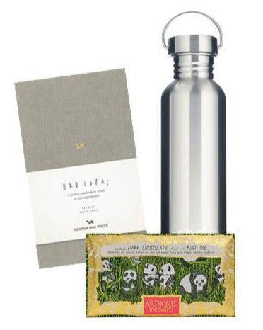 Water Bottle & Grey Notebook Gift Set #WFH