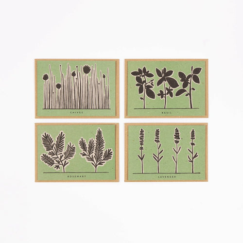 Herb Recipe Notecards designed and made by Studio Wald. A wonderful set of notecards that leave the recipient with a recipe full of beneficial herbs, sold by Percy Langley