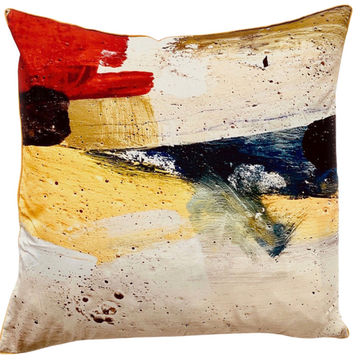 Wildscape hand printed cushion, designed by Ruby Kite, sold by Percy Langley
