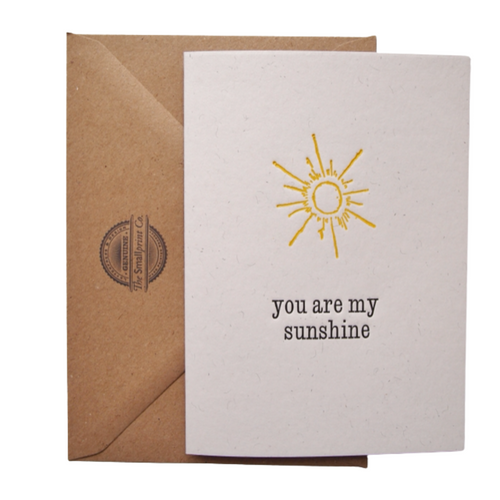 You are my Sunshine, hand printed card. Created using a wonderful antique wood engraving, using the original 19th century block on beautiful paper.   The cards are all original works of art, designed to be treasured and framed after receipt. They make wonderful additions to gallery walls.