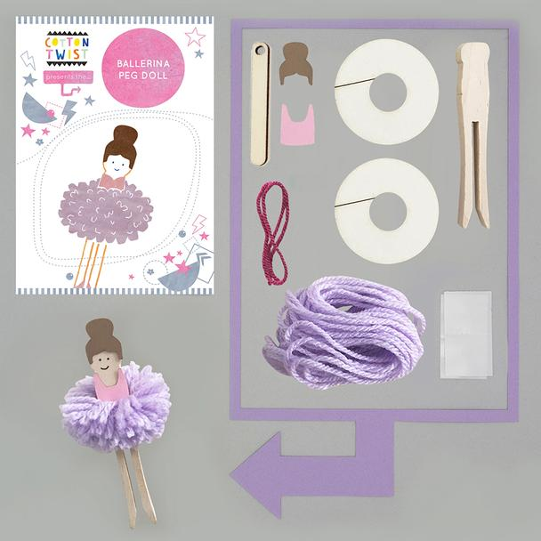 Make your own Pom Pom Ballerina Peg doll By Cotton Twist