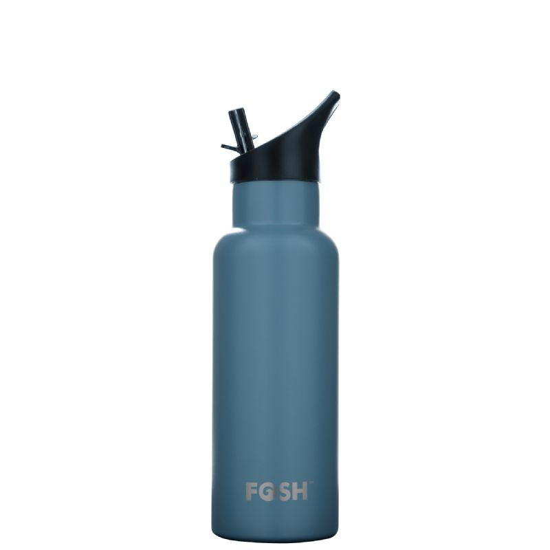 FOSH super stylish reusable water bottle in Breeze Blue. Keeps drinks hot for 12 hours or cold for 24.  Highest grade 304 stainless steel. Extra thick 1/2mm outer wall thickness to resist damage. 530ml capacity.  Ergonomic design - fits perfectly into the palm of your hand.
