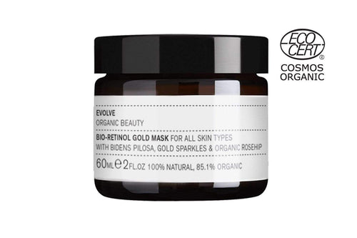 Bio-Retinol Gold Face Mask by Evolve beauty, 100% natural, vegan and certified COSMOS Organic!