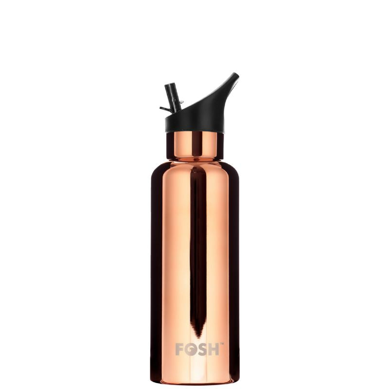 FOSH super stylish reusable water bottle in Rose Gold. Keeps drinks hot for 12 hours or cold for 24.  Highest grade 304 stainless steel. Extra thick 1/2mm outer wall thickness to resist damage. 530ml capacity.  Ergonomic design - fits perfectly into the palm of your hand.