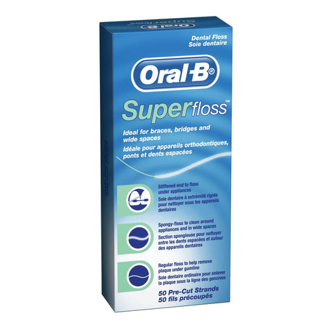 Ideal for braces, bridges and wide spaces. Its three unique components—a stiffened-end dental floss threader, spongy floss and regular floss—all work together for maximum benefits. Comes with 50 pre-cut strands.