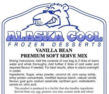 Vanilla Bean Soft Serve Mix (6 X 1.5kg Bags) Made in Canada