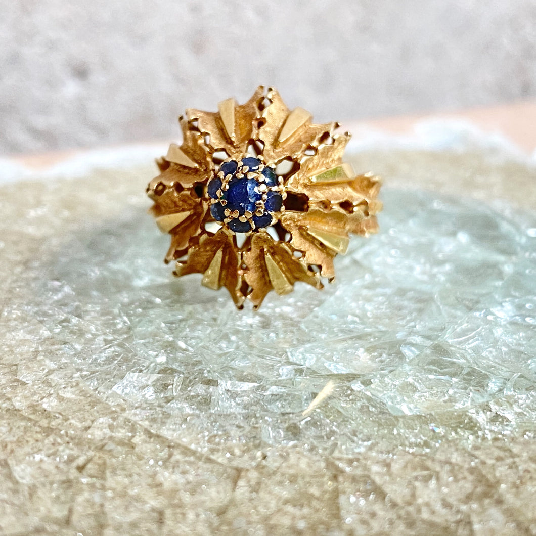 VINTAGE FLOWER SAPPHIRE RING