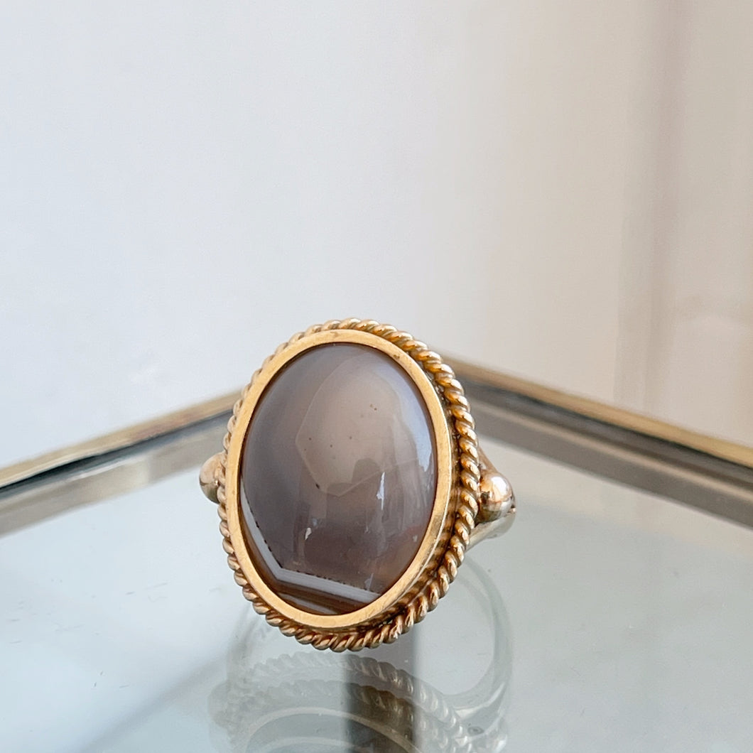 Vintage Cabochon Agate Ring