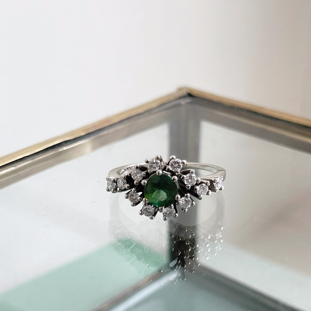 VINTAGE TOURMALINE AND DIAMOND CLUSTER RING