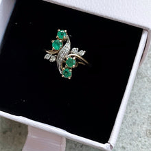 Load image into Gallery viewer, VINTAGE ART NOUVEAU STYLE DIAMONDS AND EMERALDS RING