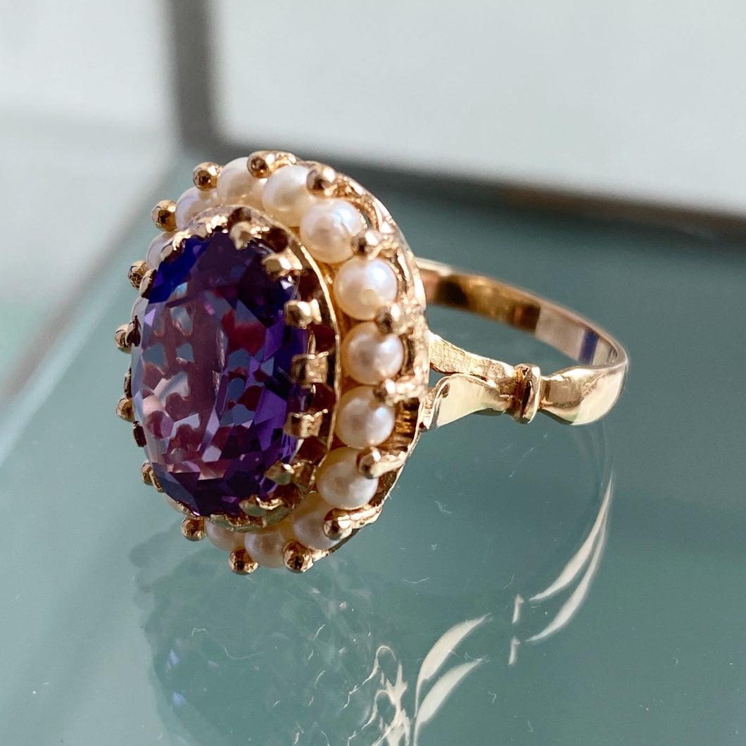 AMETHYST AND PEARL HALO VINTAGE RING