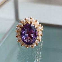 Load image into Gallery viewer, AMETHYST AND PEARL HALO VINTAGE RING