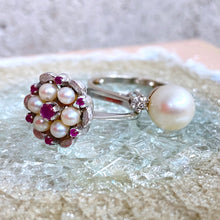 Load image into Gallery viewer, VINTAGE PEARL AND DIAMOND RING