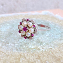 Load image into Gallery viewer, VINTAGE PEARL RUBY DAISY RING