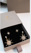 Load image into Gallery viewer, Golden Crystal Starburst earrings