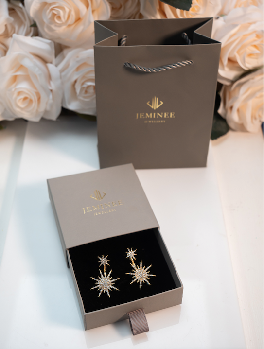 Golden Crystal Starburst earrings
