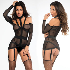 Adore Chloe Fishnet Corselette With Garters - Black - OkGiv