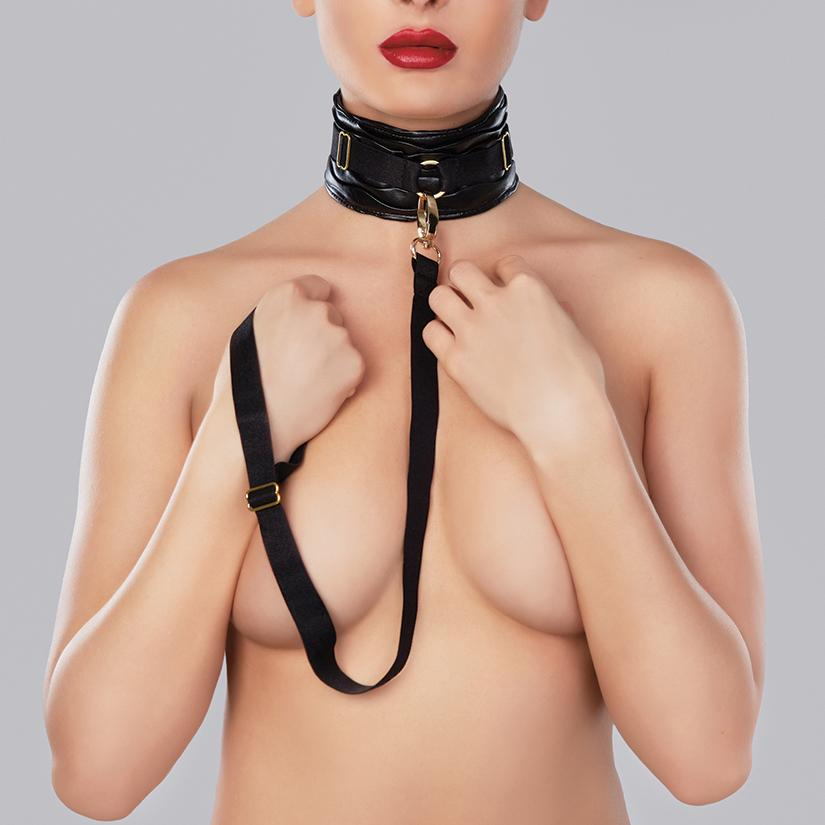 Adore Butter Soft Ruched Faux Leather Collar With Leash - OkGiv